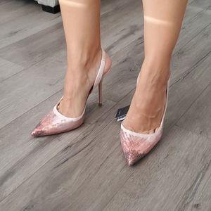 🆕️ Zara Pink Sequined Slingback Pumps